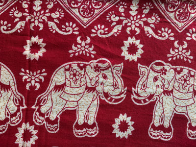 Elephant Family - Deep Maroon, Ivory & Light Brown with  Hidden Zipper Pocket - Reversible