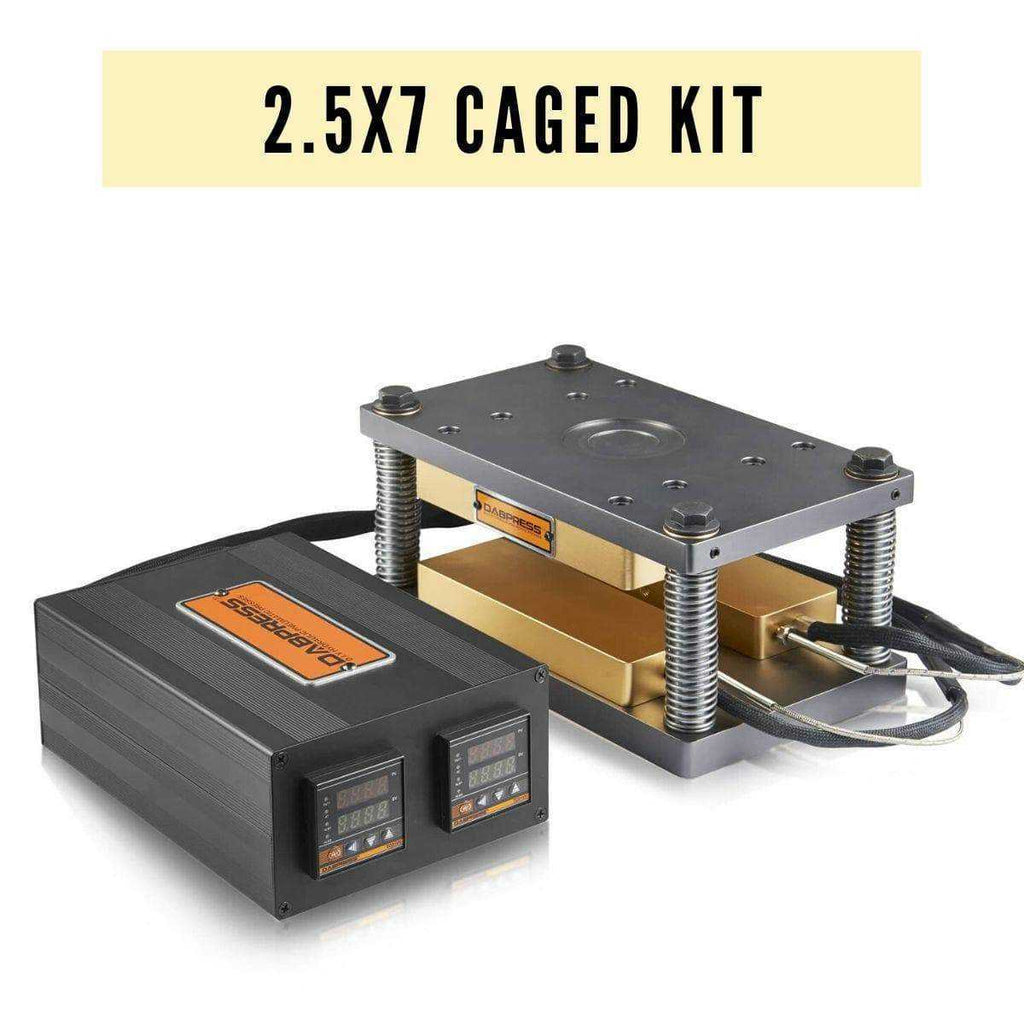 2.5x7 Caged DIY Rosin Press Plates Kit - 1,200 Watts, 4pc Heating Rods - Build A 20-30 Ton Press