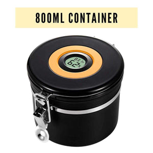 800ml Airtight Storage Container for Flower - Hygrometer Intergrated - Made of Stainless Steel | Dabpress
