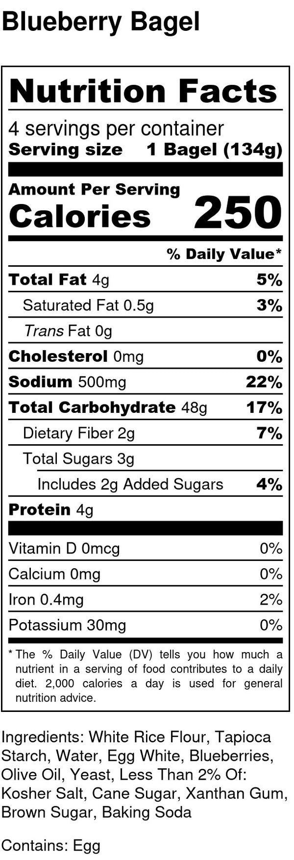 nutrition facts for gluten free and dairy free blueberry bagels contains eggs