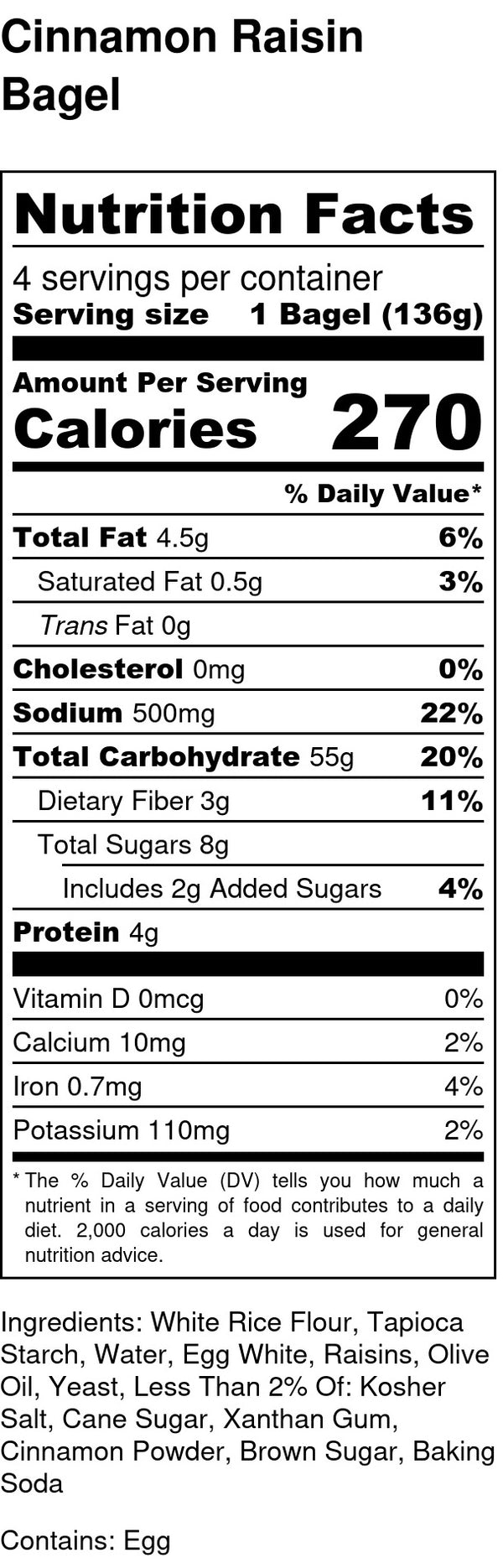 nutrition facts for gluten free and dairy free cinnamon raisin bagels contains eggs