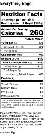 nutrition facts for gluten-free and dairy-free blueberry bagels contains eggs