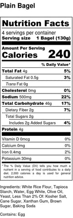 nutrition facts for gluten free and dairy free plain bagels contains eggs