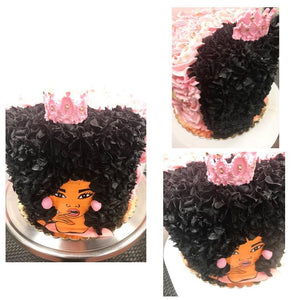Freehold New Jersey Afro Cake. Natural Hair Cake. Black Owned Business. Black Owned Bakery New Jersey.
