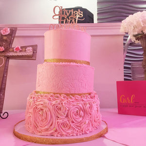 Freehold NJ Wedding Cake, Communion Cake, Pink Cake, Stylish Cake, Classy Cake. New Jersey
