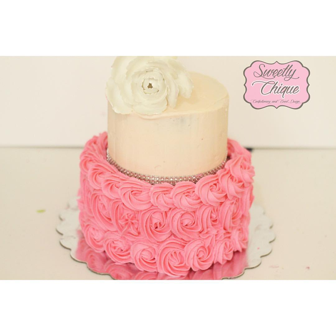 Two tier buttercream cake