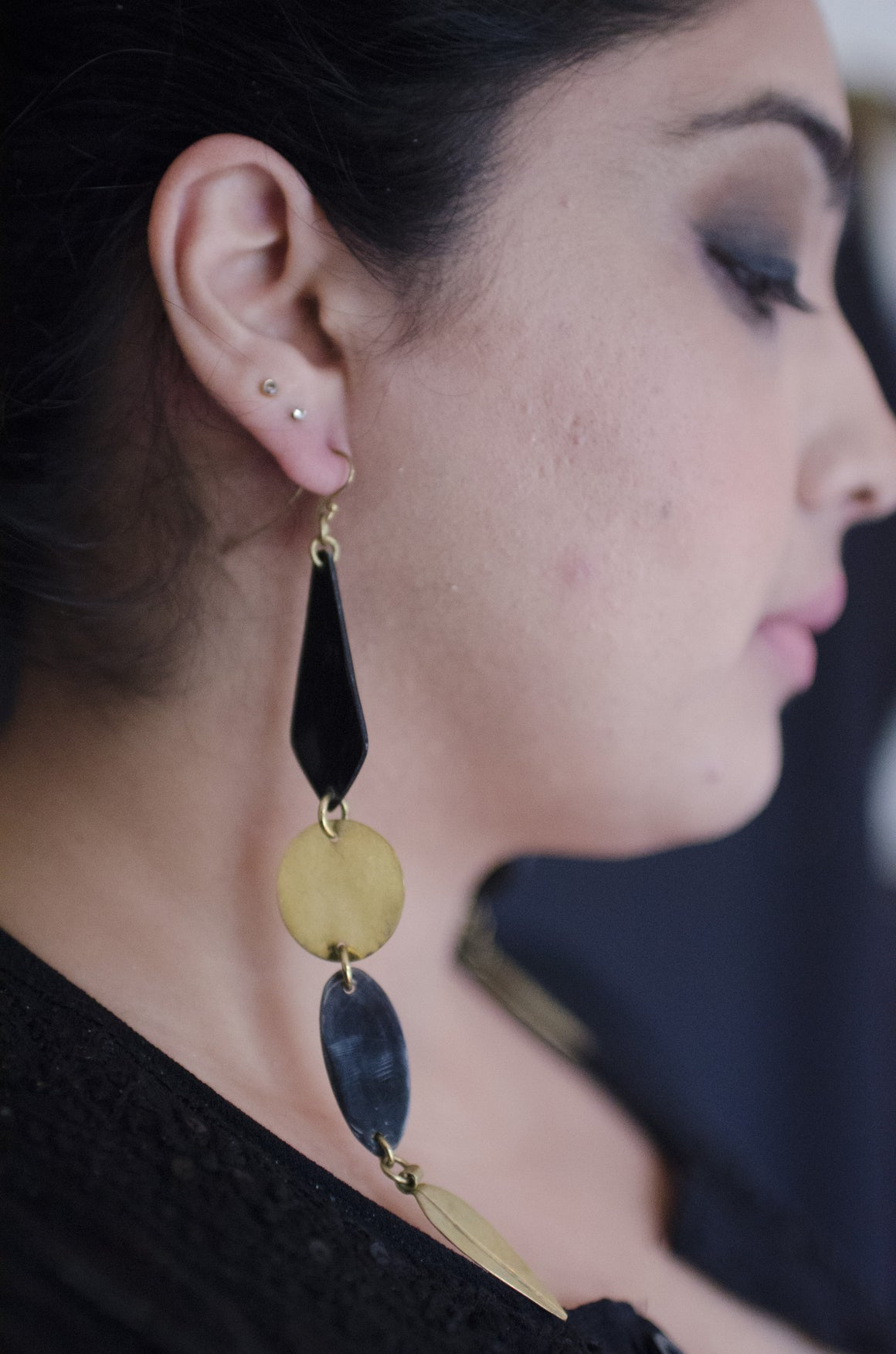 Adele Earrings Handcrafted Brass & Cow Horn