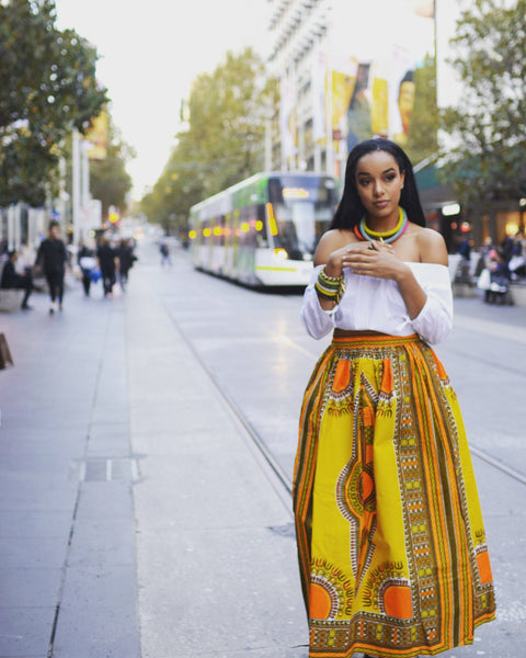 Dashiki Cotton Maxi Skirt