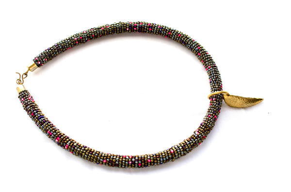Katazii Beaded Chokers with Brass Charm