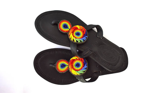 Rainbow Sandals leather and Beaded