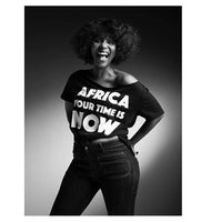 Africa Your Time is now Black off shoulder crop tee