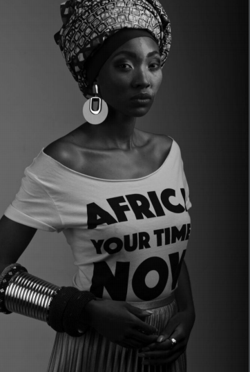 Africa Your Time is now White off shoulder crop tee