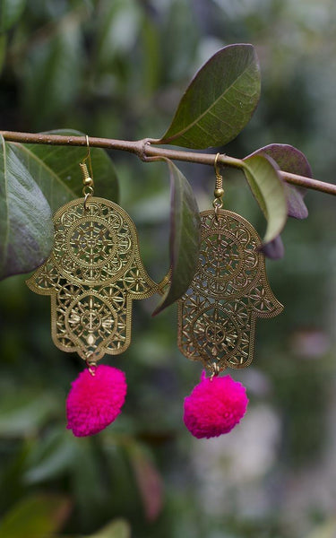Hamsa Pink Morocco Inspired Earrings Hand of Fatima