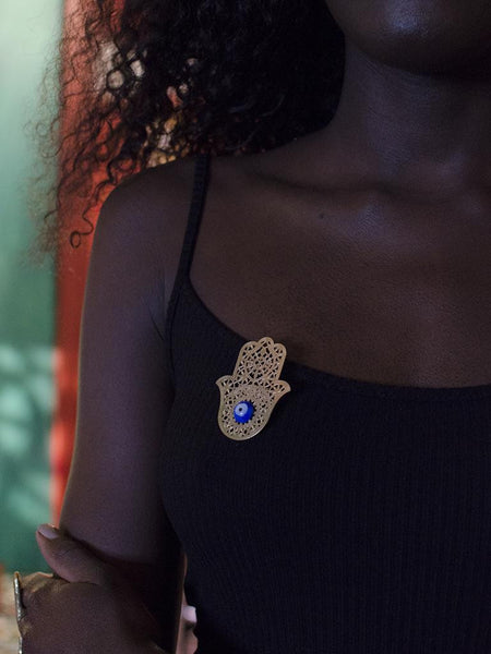 Hamsa Brooch Lapel with evil eye bahati