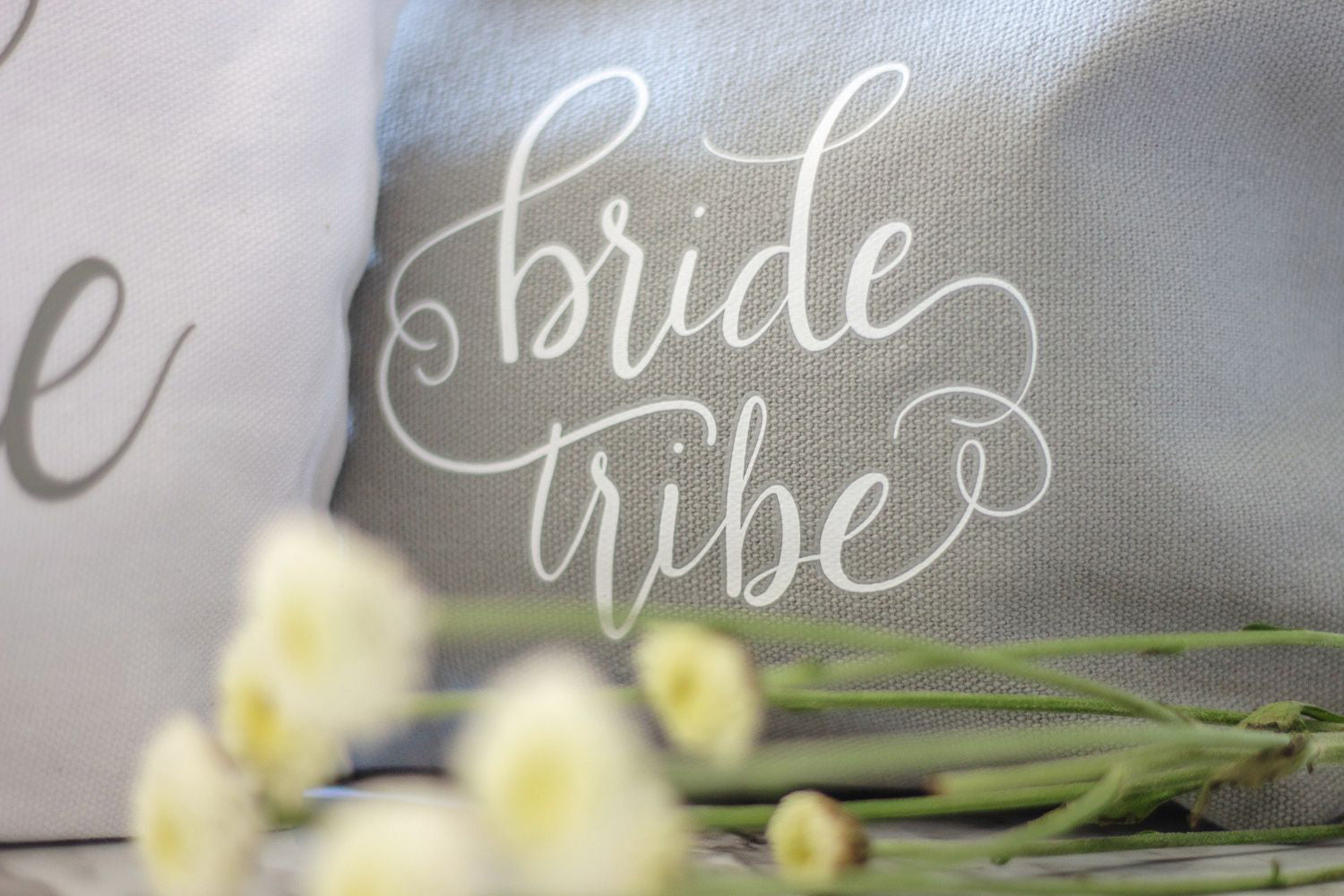 Grey Bride Tribe Canvas Makeup Bag