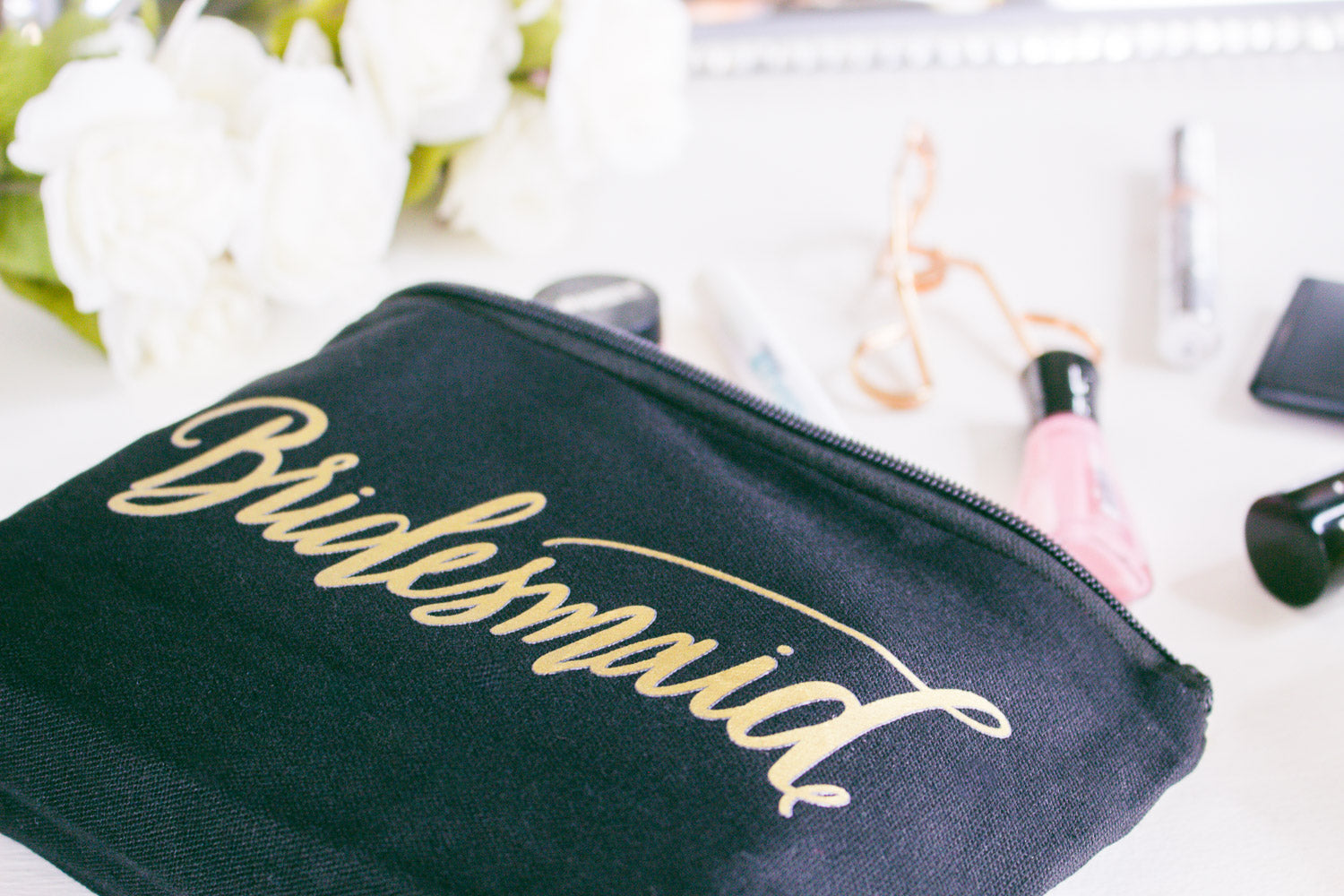 Black Bridesmaid Canvas Makeup Bag