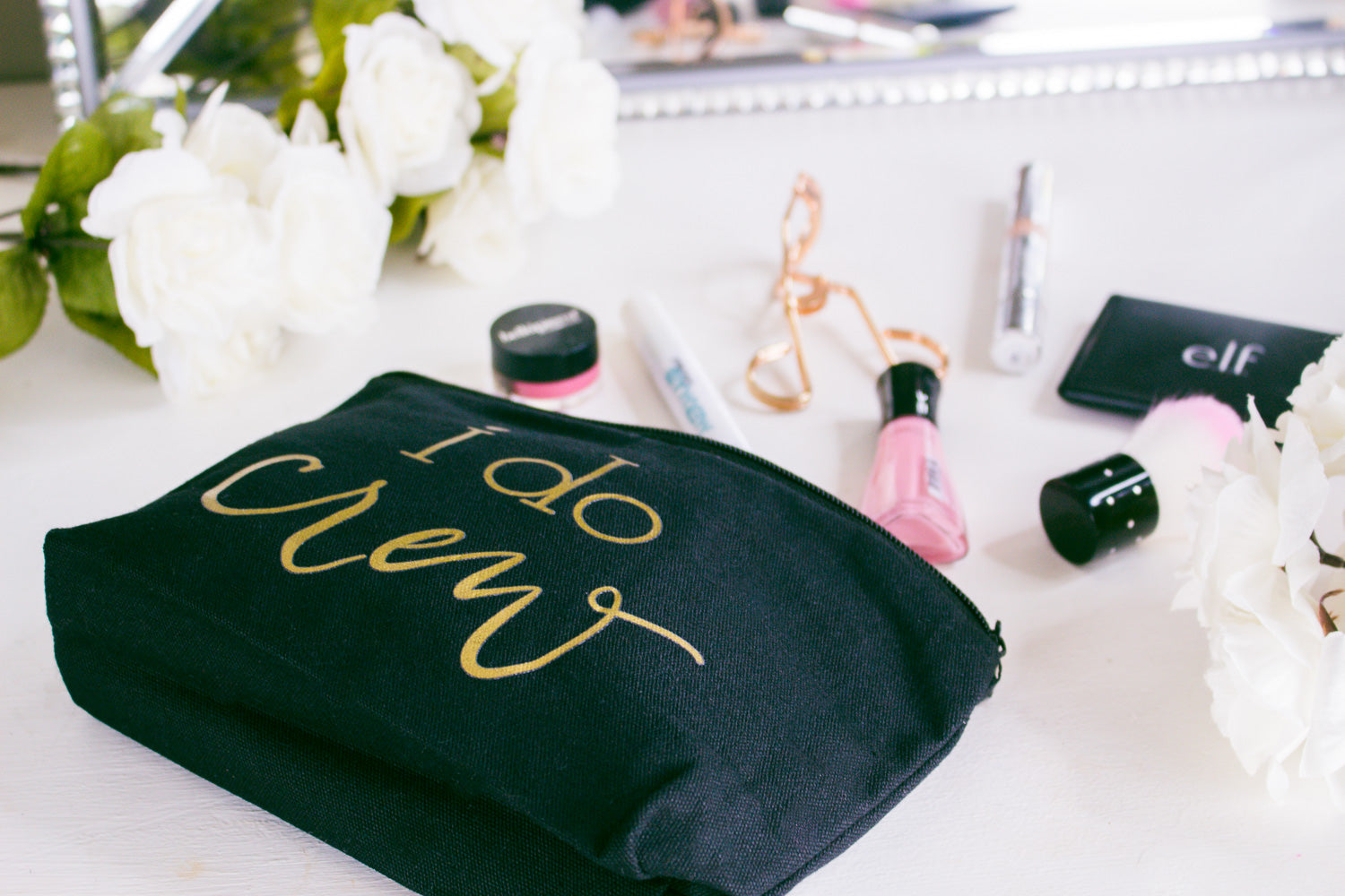 Black I Do Crew Canvas Makeup Bag