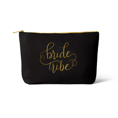Black Bride Tribe Canvas Makeup Bag