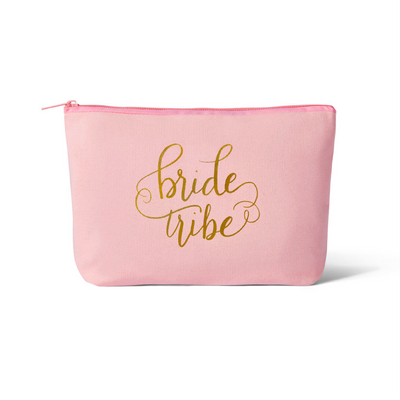 Pink Bride Tribe Canvas Makeup Bag