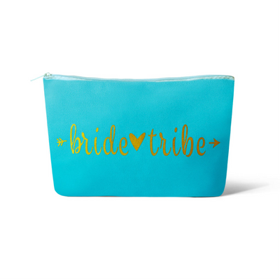 Turquoise Bride Tribe Makeup Bag
