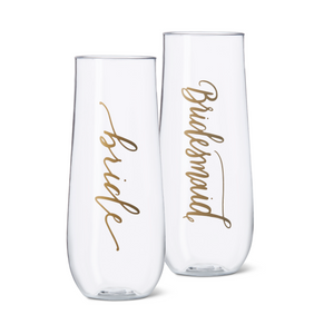11 oz. Bridesmaid, Bride Tribe, or Bride Durable Plastic Stemless Champagne Glasses