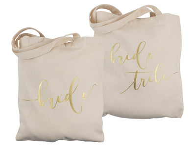 Cream Bride Tribe and Bride Canvas Beach Tote Bags