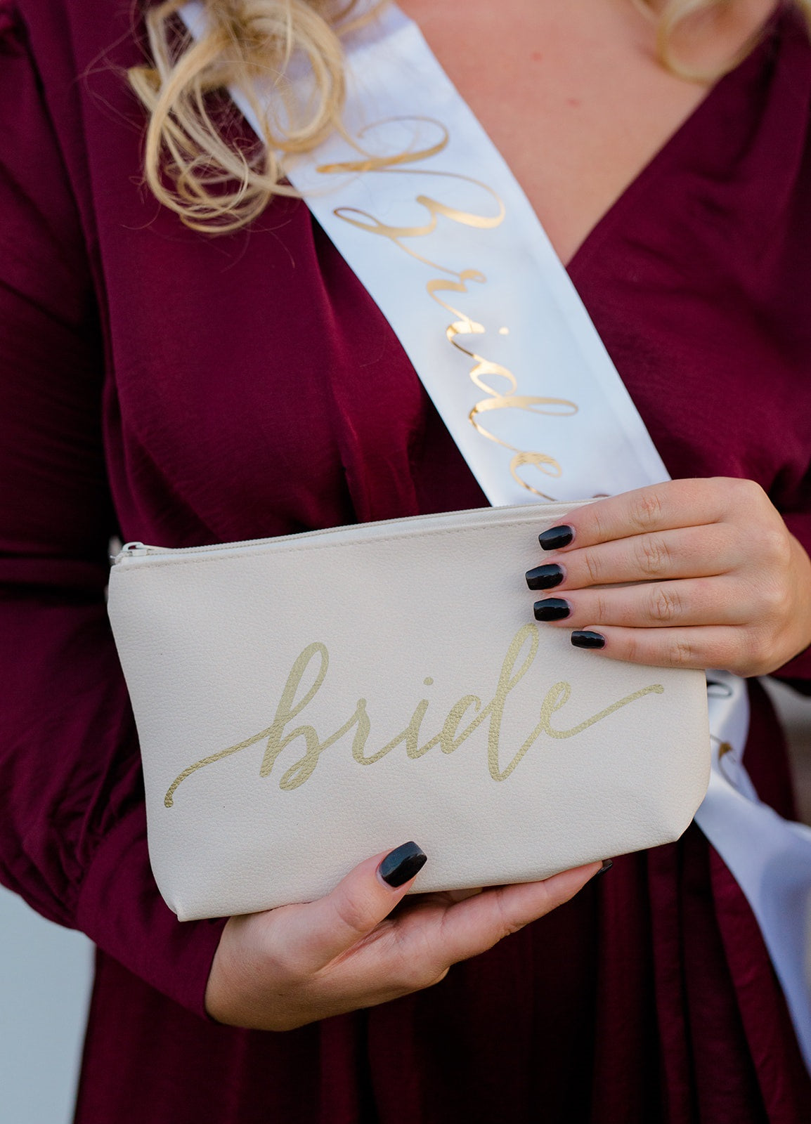 Blush Pink Bride's Babes Faux Leather Makeup Bag