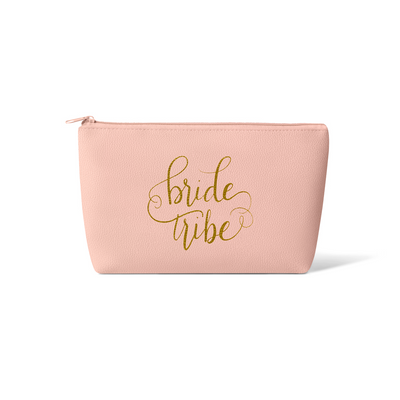 Blush Pink Bride Tribe Faux Leather Makeup Bag