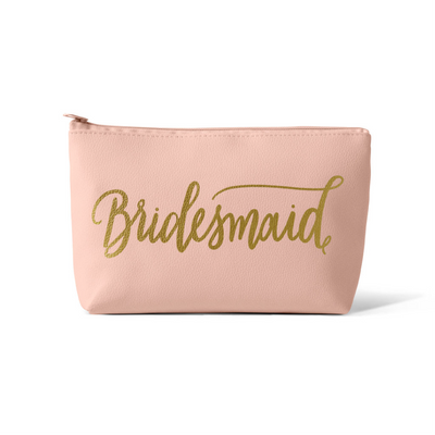 Blush Pink Bridesmaid Faux Leather Makeup Bag