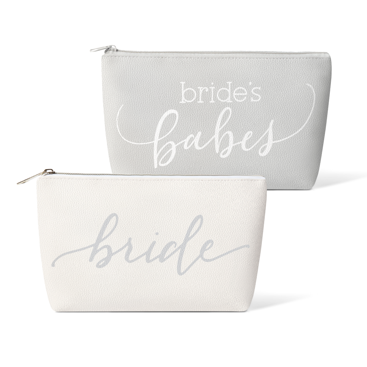 Grey Bride's Babes Faux Leather Makeup Bags