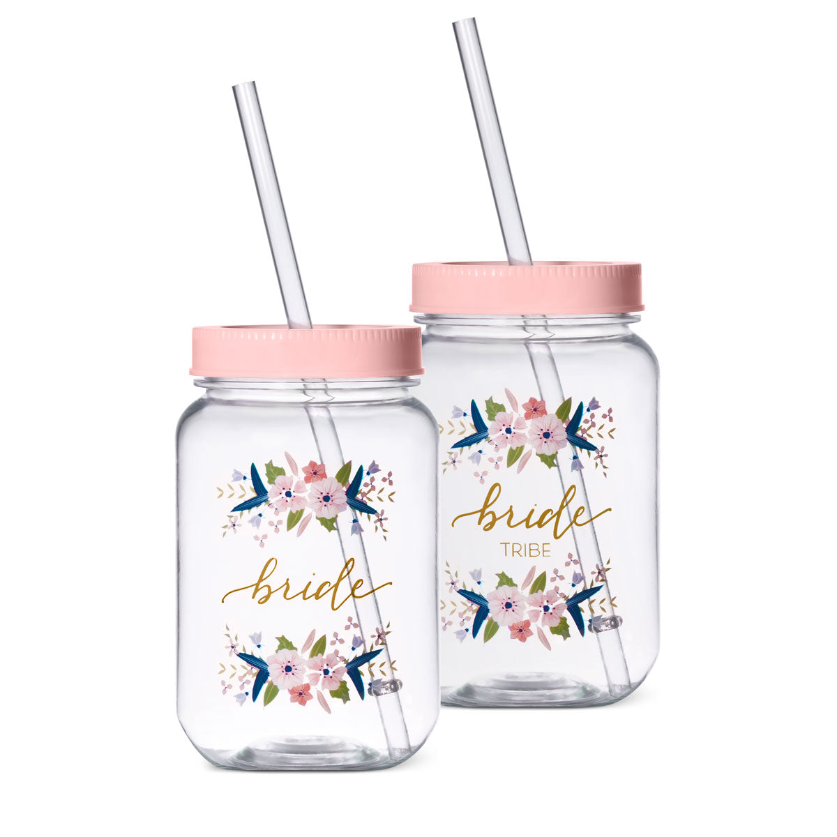 16 oz. Bride or Bride Tribe Plastic Mason Jar in Pink and Gold Calligraphy
