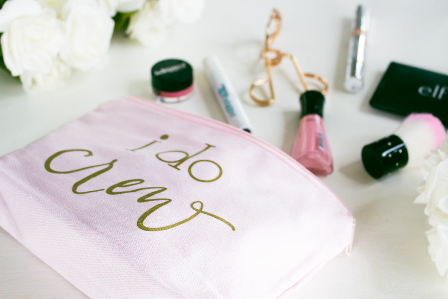 Pink I Do Crew Canvas Makeup Bag