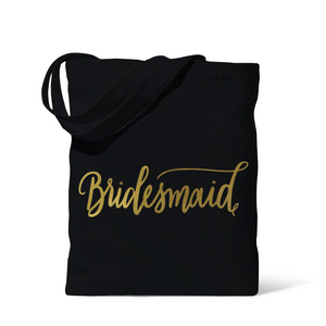 Black Bridesmaid Canvas Beach Tote Bag