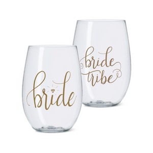 16 oz. Bride Tribe, Bride, I Do Crew, and Bride's Babes Durable Plastic Stemless Wine Cups