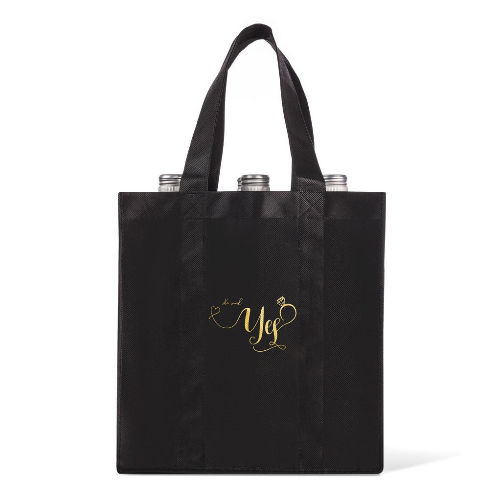 She Said Yes 6-Bottle Wine Tote Bag with Label Stickers
