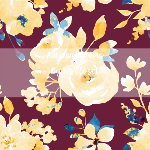 Autumn Blooms, custom printed fabric by the yard, preorder