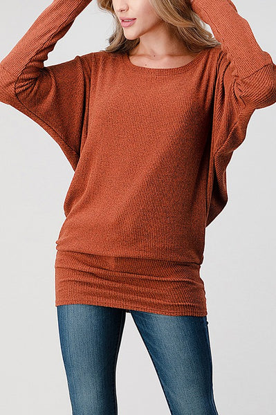 Dolman Sleeve Ribbed Top