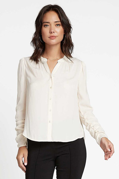 Button Front Cinch Sleeve Blouse