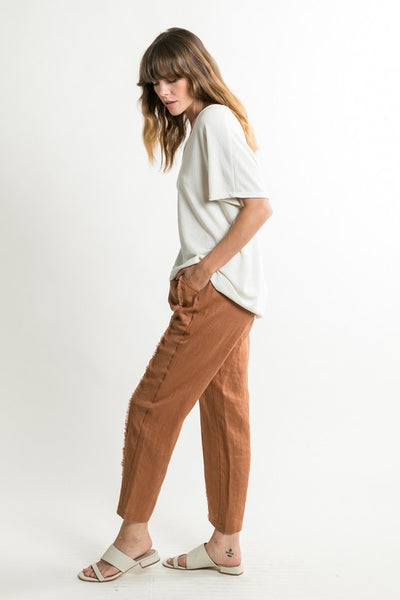 Raw Trim Linen Pants