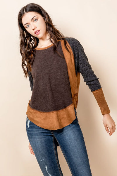 Knit Faux Suede Top