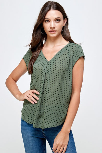 V-Neck Dash Print Top