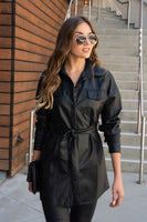 Faux Leather Tie Dress