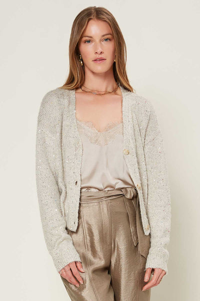 Fuzzy Cropped Sequined Sweater