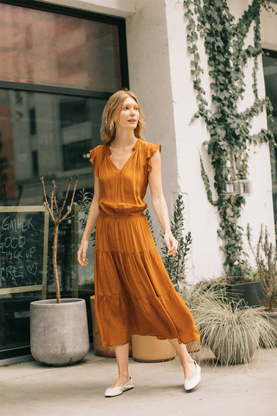 Ruffled Sheen Midi Dress