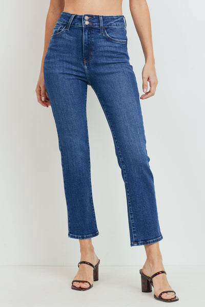 Double Button Straight Jeans