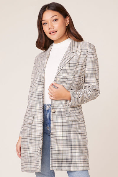 3/4 Length Plaid Blazer