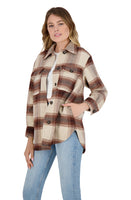 Button Front Plaid Coat