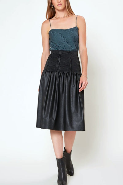 Smocked Waist Faux Leather Skirt