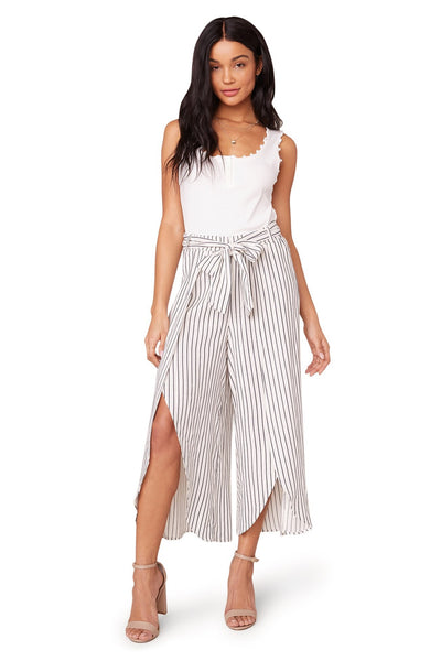 Striped Culotte High-Slit Pant