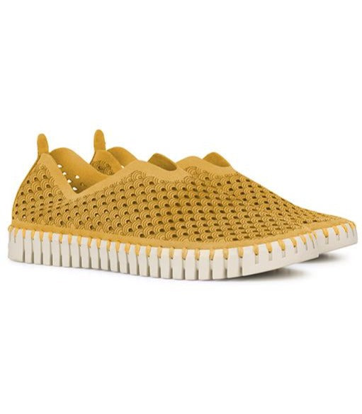 Golden Perforated Slip-On Shoes